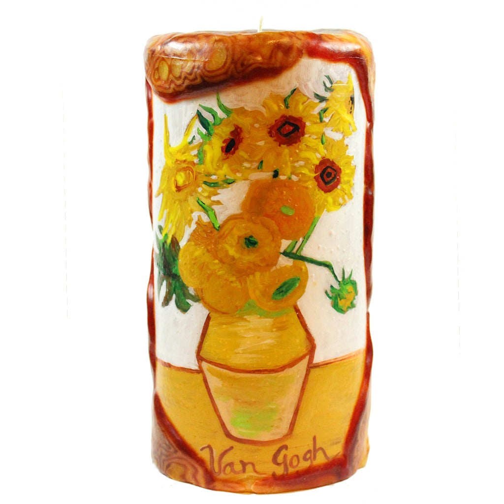 Van Glow Painted Pillar Candle - Sunflowers - Candlestock.com