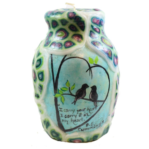 "Painted Veneer Quote Vase Candle - ""I carry your heart I carry it in my heart."" E. E. Cummings - Candlestock.com"