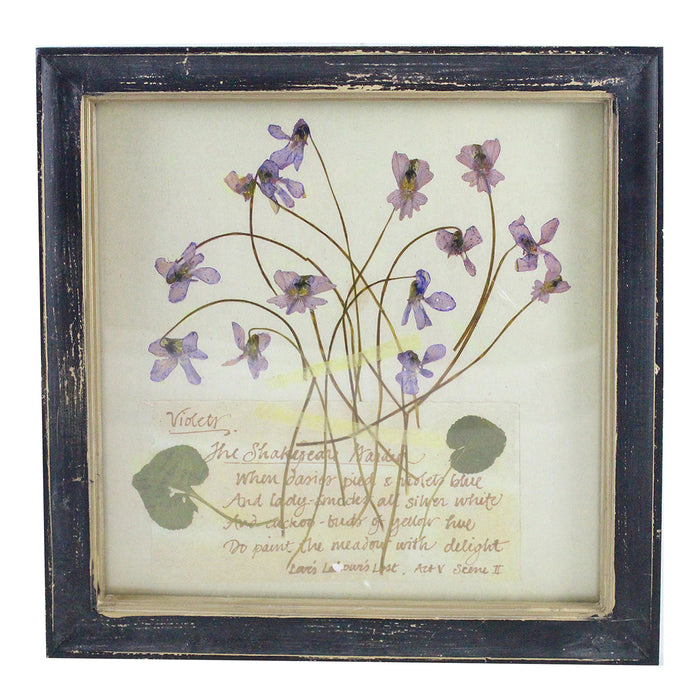 Rustic Wood Framed Violet Pressed Flower Wall Decor