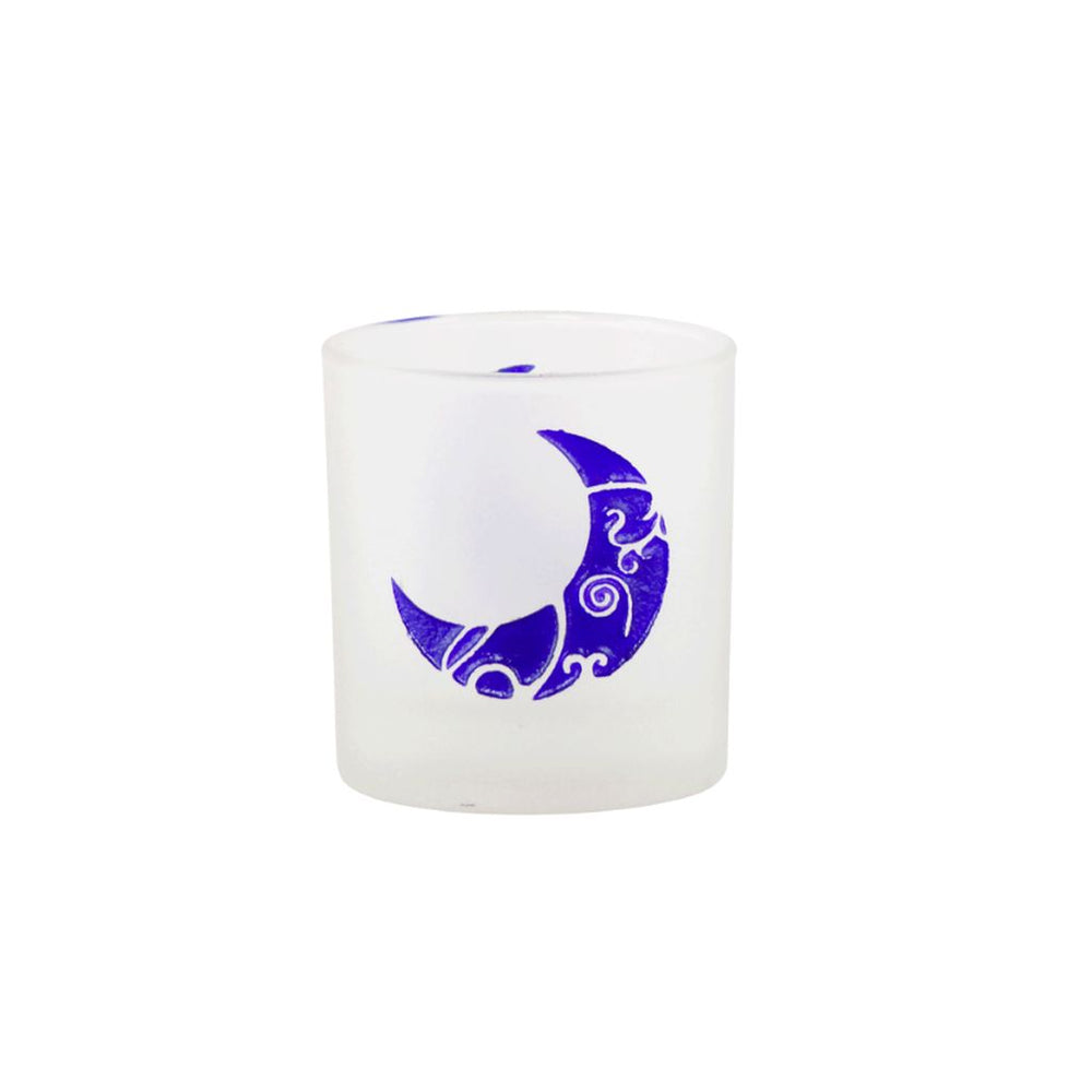 Glass Crescent Moon Votive Candle Holder