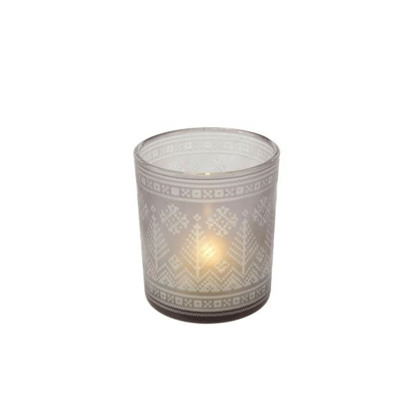 Glass Winter Votive Candle Holder