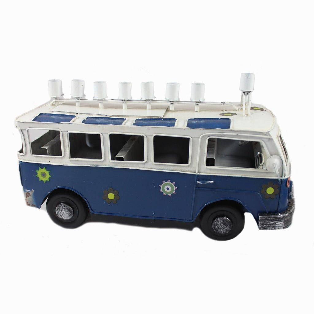Blue Metal VW Bus Menorah - Candlestock.com