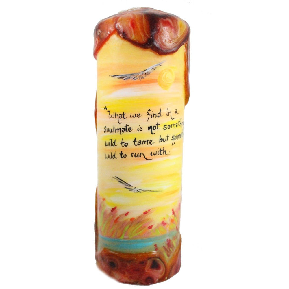 "Quote Pillar Candle - ""What we find in a soulmate is not something wild to tame, but something wild to run with"" Robert Brault - Candlestock.com"