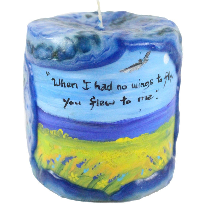 "Painted Veneer Pillar Candle - ""When I had no wings to fly, you flew to me."" 4X4 - Candlestock.com"