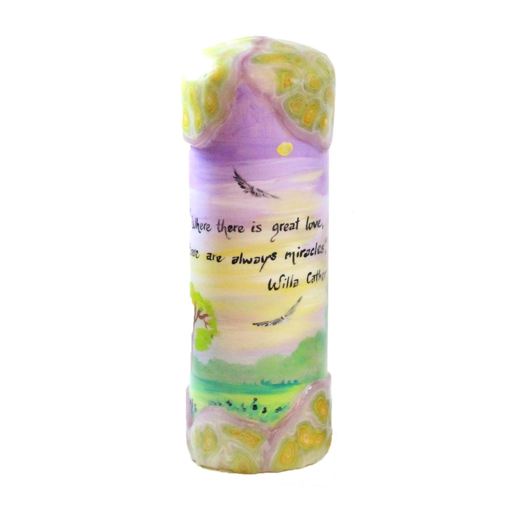 "Quote Pillar Candle - ""Where there is great love, there are always miracles"" Willa Cather - Candlestock.com"
