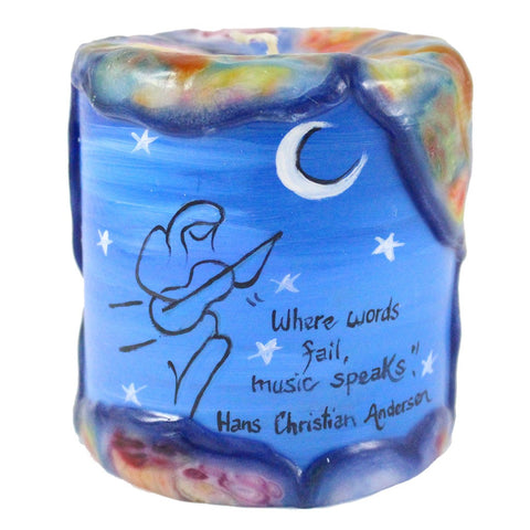 "Painted Veneer Pillar Candle - ""Where words fail, music speaks."" - Hans Christian Anderson 4X4 - Candlestock.com"