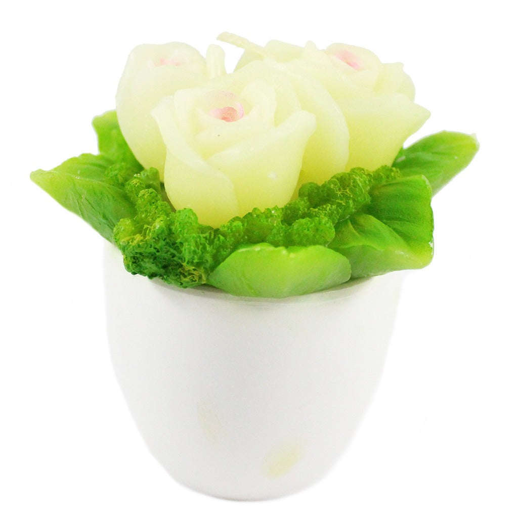 Potted White Rose Candle Bouquet - Candlestock.com