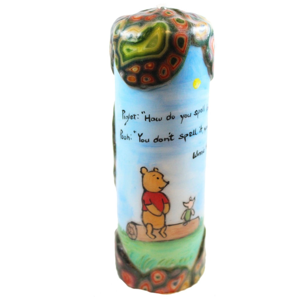 "Quote Pillar Candle - Piglet: ""How do you spell love?"" Pooh: ""You don't spell it, you feel it"" Winnie the Pooh - Candlestock.com"
