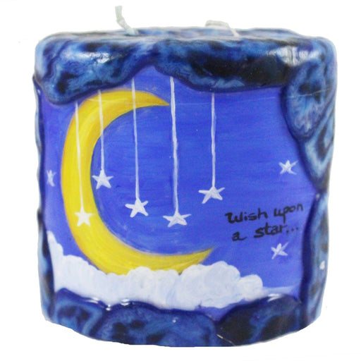 "Oval Quote Pillar Candle - ""Wish upon a star"" - Candlestock.com"