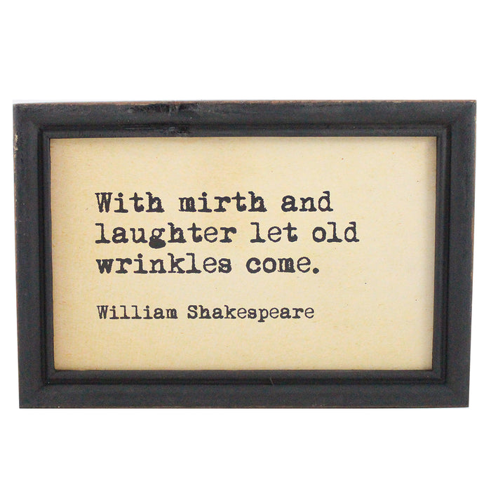 "Framed Hanging Wall Quote ""With Mirth and Laughter"" - Candlestock.com"