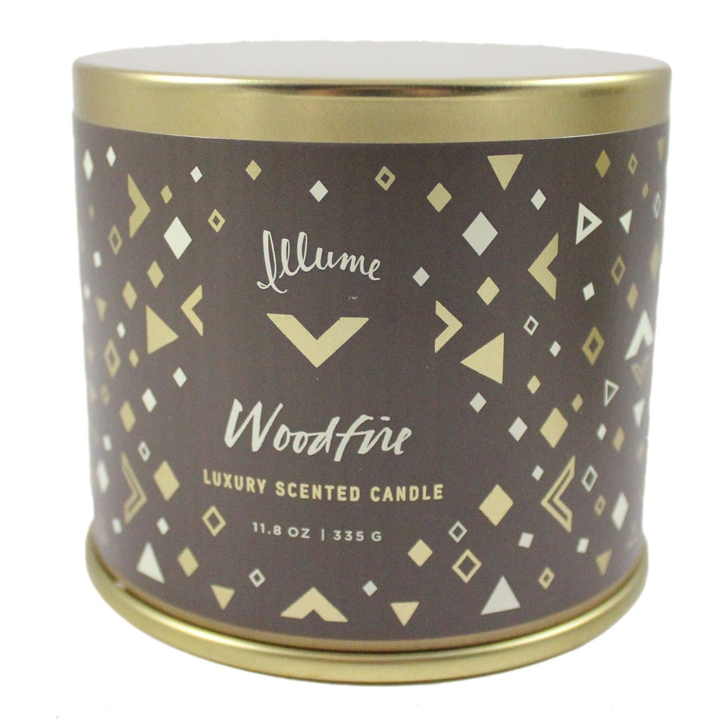 Illume Soy Wax Woodfire Scented Tin Candle - 11.8 oz - Candlestock.com