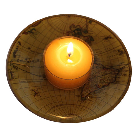 Glass Old World Map Candle Tray - Candlestock.com