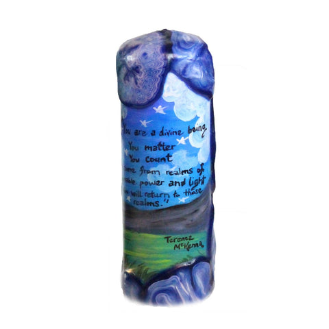 "Quote Candle - ""You are a divine being. You matter, you count. You come from realms of unimaginable power and light, and you will return to those realms."" Terence McKenna"