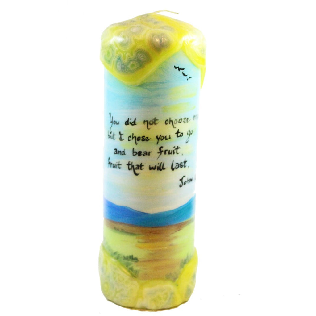 "Quote Pillar Candle - ""You did not choose me, but I choose you and appointed you so that you might go and bear fruit, fruit that will last"" John 15:16 - Candlestock.com"