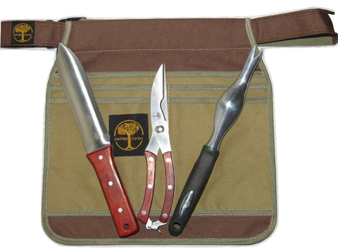 4-piece Gardening Tool Set with a Hori Hori Knife, Pruning Shears, Hand Weeder and Apron