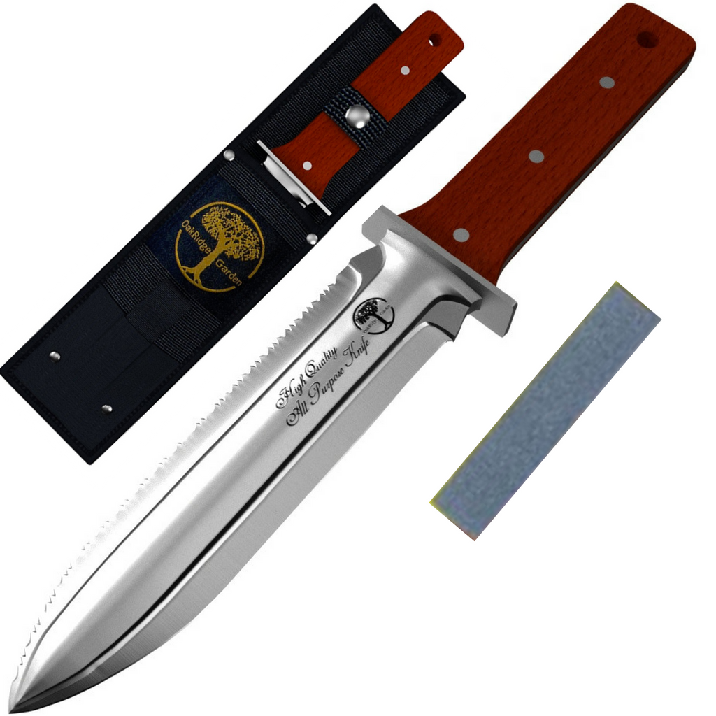 Hori Hori Knife with Metal Hand Guard and Whetstone