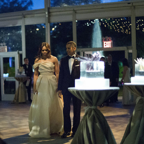 President and Mrs. Obama walk next to an ice sculpture at the Nordic State Dinner in May, 2016.