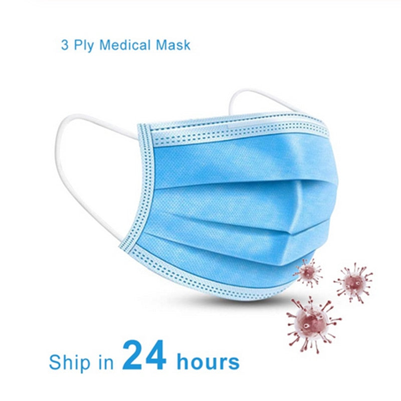 Protection Masks | 10 or 30 Pc.| Anti Pollution 3 Layer Disposable Mask | Elastic Ear Loop  Dust Filter Safety Masks - GadgetSourceUSA