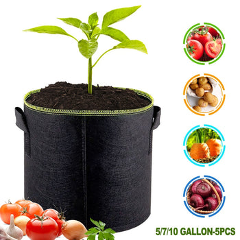 Plant Grow Bags | 5 pcs of either 5, 7 or 10 Gallon | Breathable Vegetable, Flower, Potato Pot Container |  Portable Garden Planting Basket | Grow Bags - GadgetSourceUSA