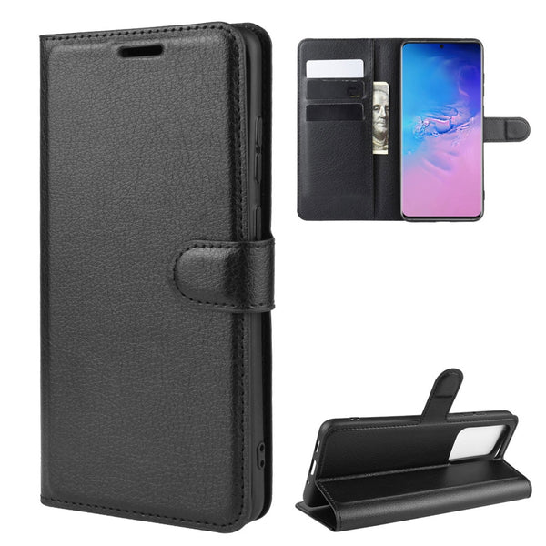 Wallet Case for Samsung | 6.9in Samsung Galaxy S20 Ultra G988 SM G988B 5G | Wallet/ Card/ Book Flip Style | Black Leather - GadgetSourceUSA