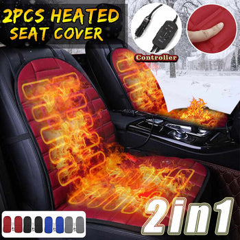 Heated Seat Cover | 1 set of 2 Pcs | Adjustable Seat Heater | Black, Grey, Blue or Red | Car Seat Heater - GadgetSourceUSA