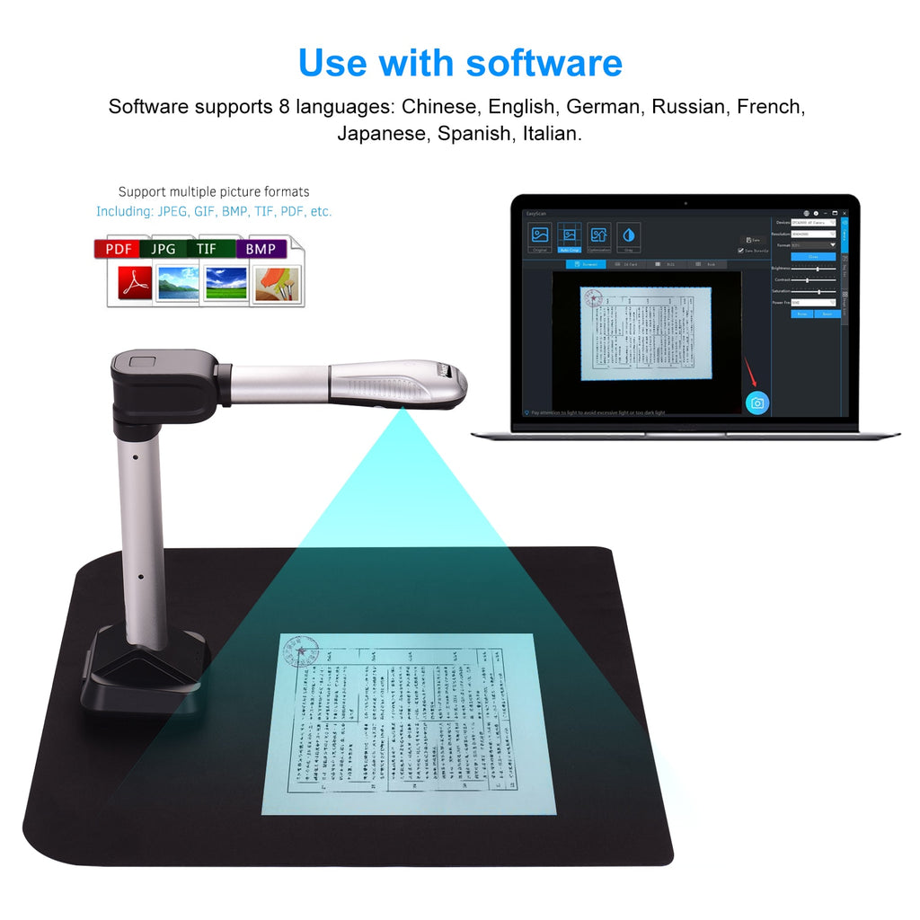 Document Scanner | USB Document Camera/Scanner | Capture Size A3 HD 16 Mega Pixels | High Speed Scanner with LED Light | Visual Presenter - GadgetSourceUSA