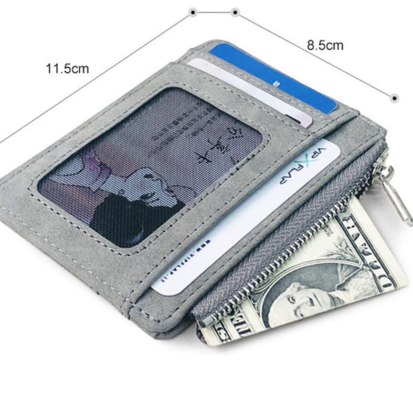 Men's Wallet Short Matte Leather Retro Multi card Frosted Fabric Card Holder Money New Minimalist Purse Transparent Coins A5|Card & ID Holders