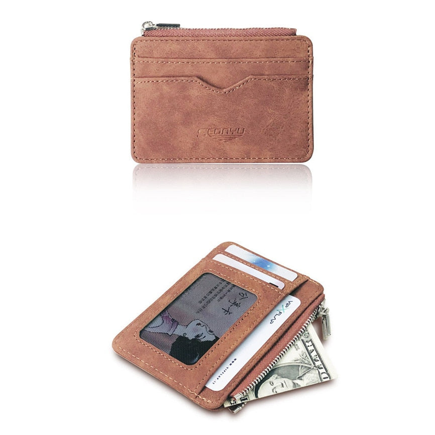 Men's Wallet Short Matte Leather Retro Multi card Frosted Fabric Card Holder Money New Minimalist Purse Transparent Coins A5|Card & ID Holders - GadgetSourceUSA