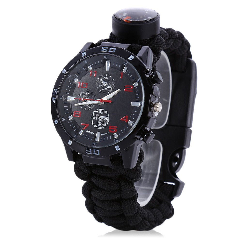 Multifunctional 6 in 1 Outdoor Survival Watch Bracelet with Compass Flint Fire Starter Paracord Thermometer Whistle 4 Color