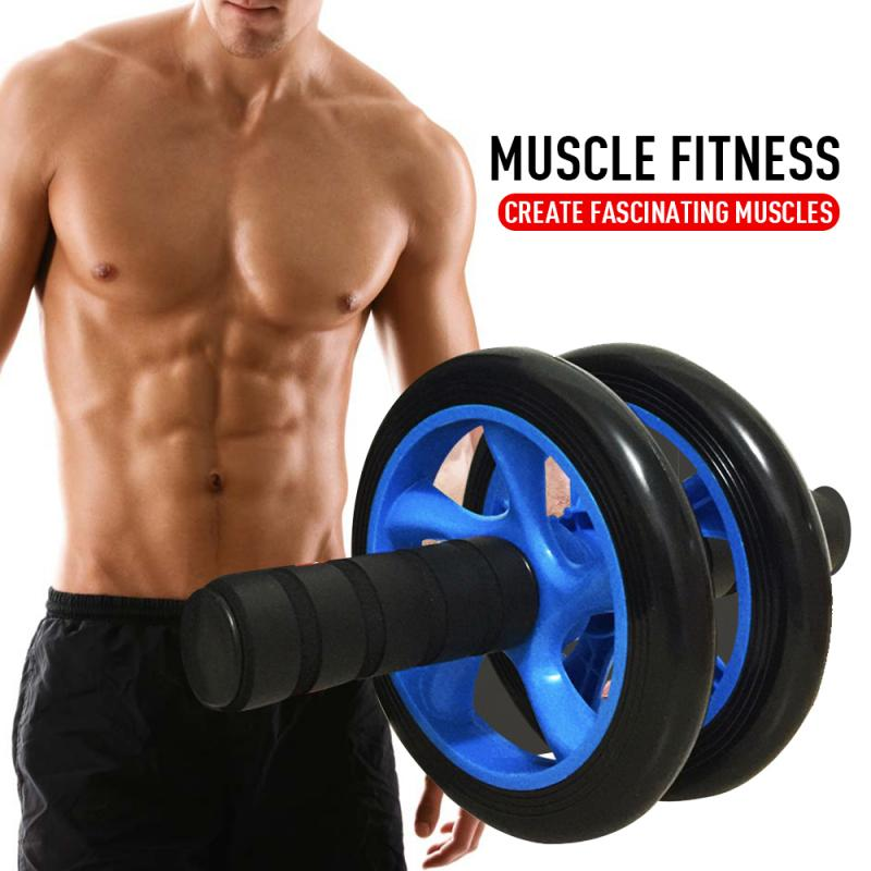 Home Fitness Equipment Muscle Exercise Equipment Double Wheel Abdominal Power Wheel Ab Roller Gym Roller Trainer Training New ED|Ab Rollers -