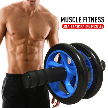 Home Fitness Equipment Muscle Exercise Equipment Double Wheel Abdominal Power Wheel Ab Roller Gym Roller Trainer Training New ED|Ab Rollers - GadgetSourceUSA