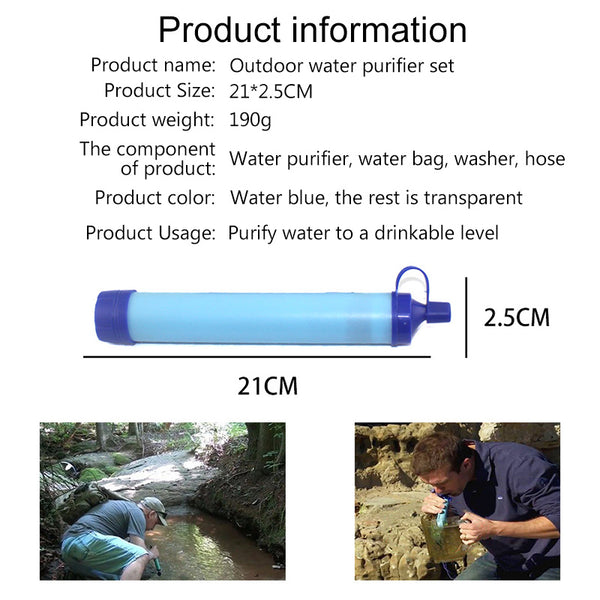 Outdoor Water Purifier Survival Multifunction Water Purifier Camping Hiking Emergency Life Survival Portable Water Filter|Safety & Survival - GadgetSourceUSA