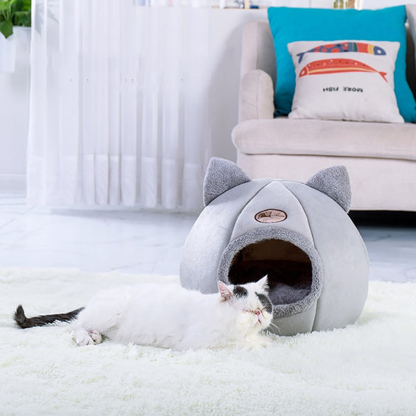 Pet Cat/Dog House | Warm Nest With Soft Foldable Sleeping Pad | Pet Cave Sleeping Mat | Cat Beds & Mats - GadgetSourceUSA