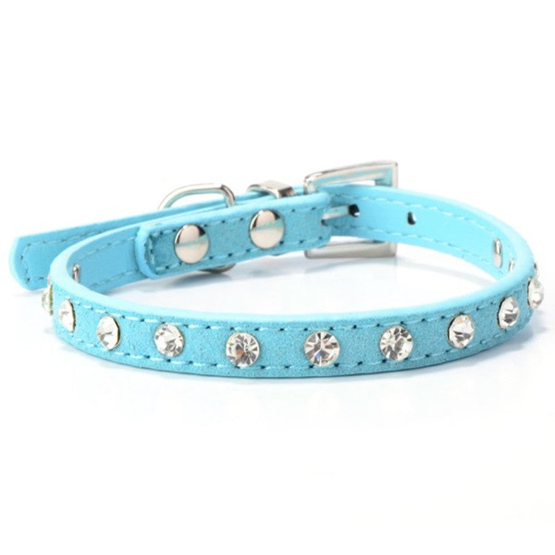 Puppy Dogs Collar Bell Rhinestone PU Leather Supply Collars Pet Neck Strap