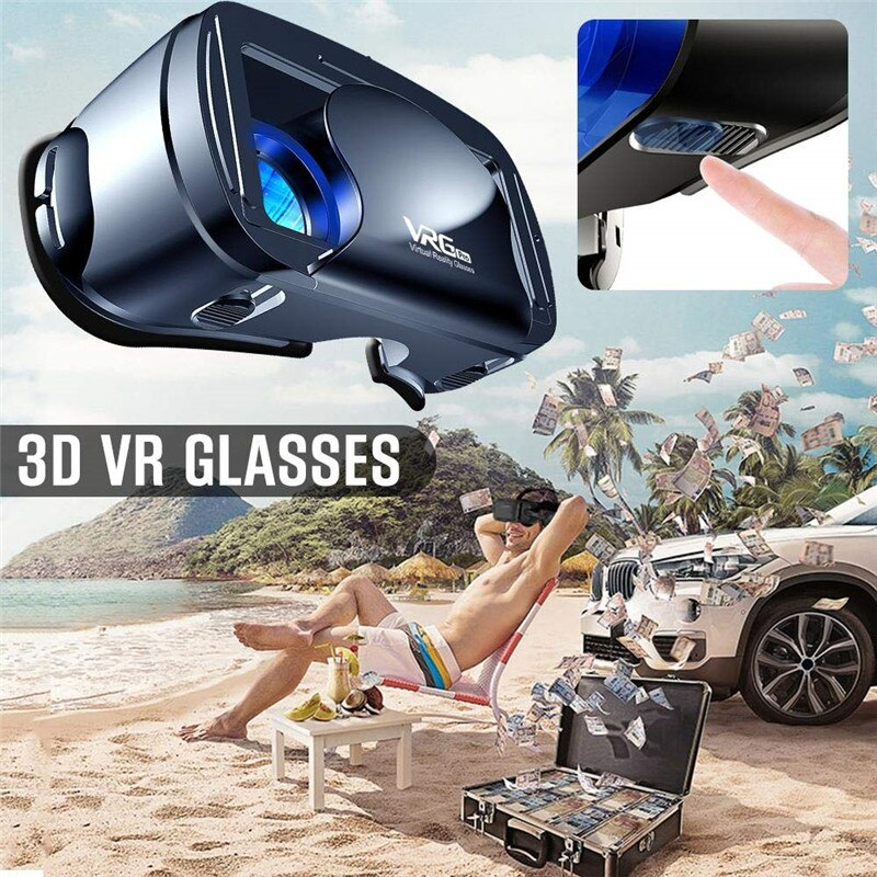 VR Headset | Compatible with iPhone & Android Phone | 3D Virtual Reality Headset | Full Screen Visual Wide-Angle VR Glasses - GadgetSourceUSA