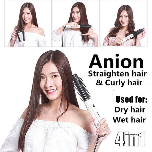 Hair Straightener Brush | 2 in 1 Hair Straightener Brush | Hair Straightener for Curling - GadgetSourceUSA