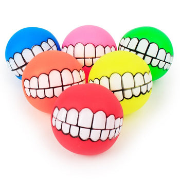 Dog Toys | indestructible | chew | 1pcs Cute Pet Ball Toys Puppy Cat Dog Funny Ball Teeth Silicon - GadgetSourceUSA