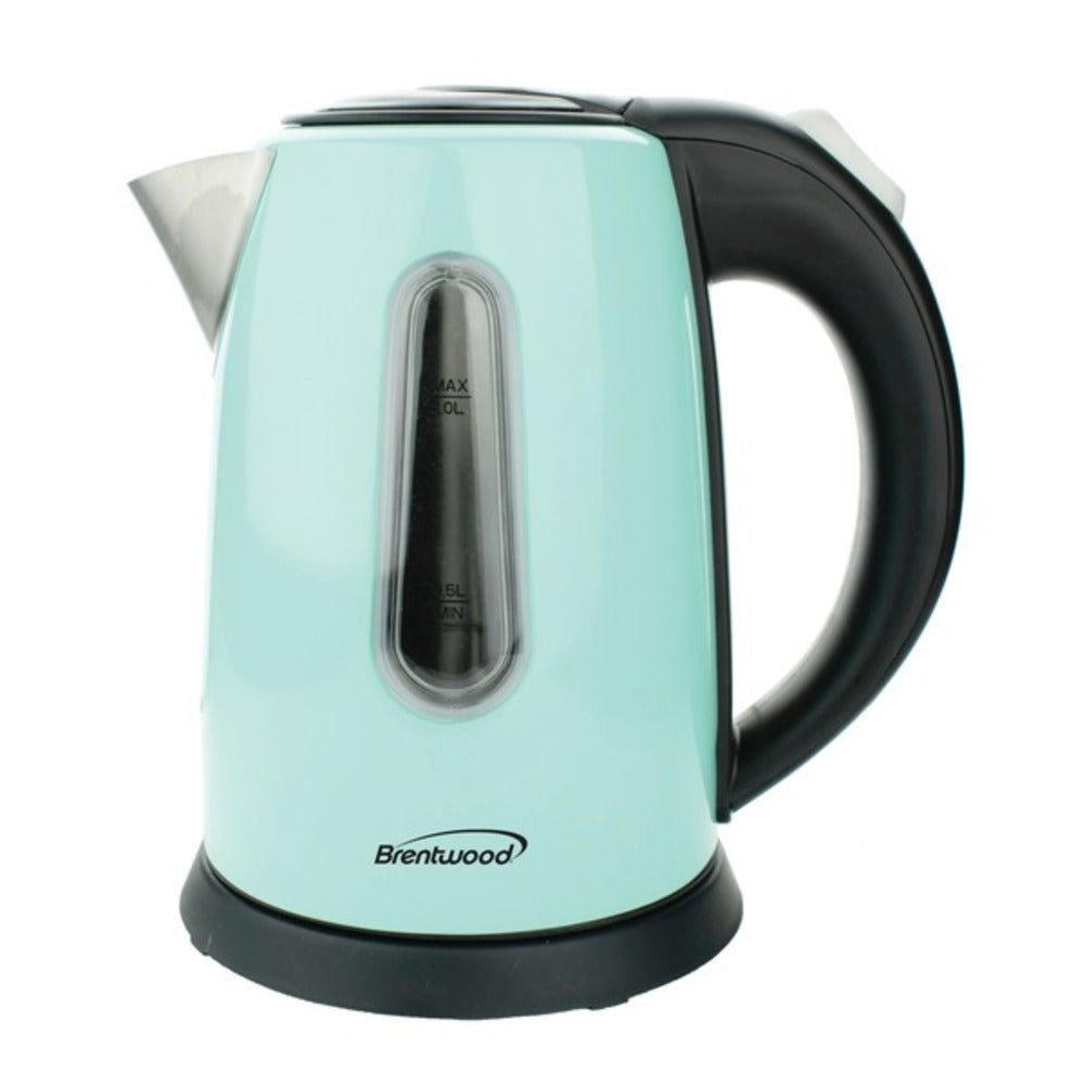 Brentwood Appliances KT-1710BL 1-Liter Stainless Steel Cordless Electric Kettle (Blue) - GadgetSourceUSA