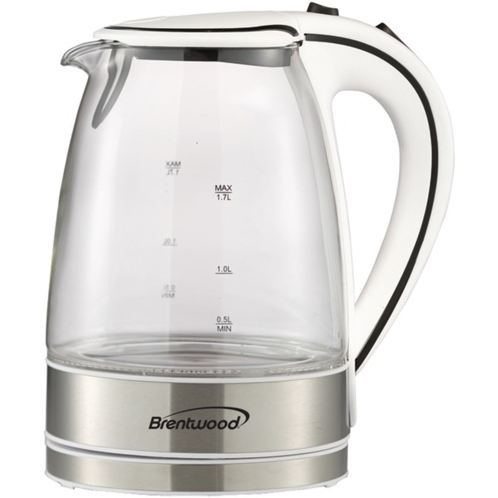Brentwood Appliances KT-1900W 1.7-Liter Cordless Tempered-Glass Electric Kettle (White)