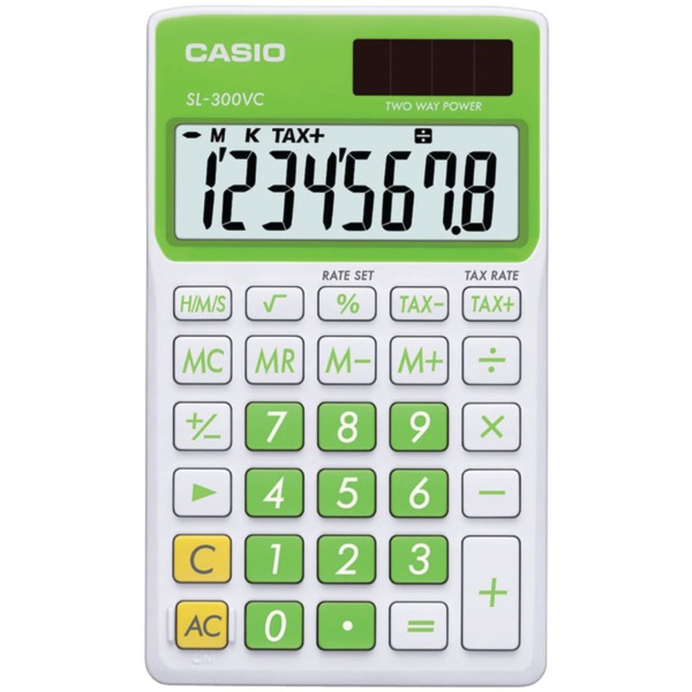 CASIO SL300VCGNSIH Solar Wallet Calculator with 8-Digit Display (Green) - GadgetSourceUSA