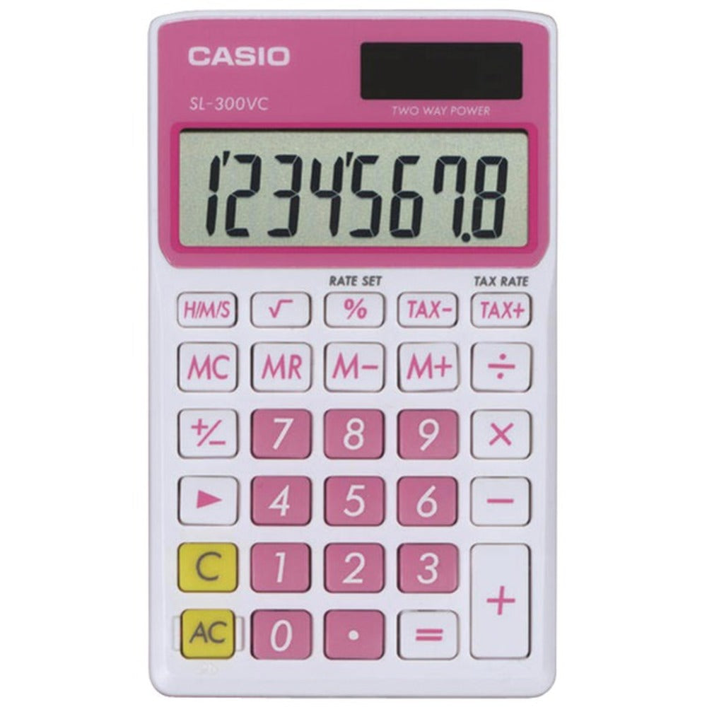 CASIO SL300VCPKSIH Solar Wallet Calculator with 8-Digit Display (Pink) - GadgetSourceUSA
