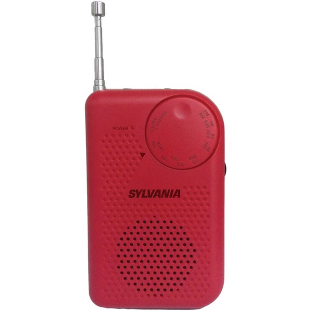 SYLVANIA SRC100-RED Portable AM/FM Radio (Red) - GadgetSourceUSA