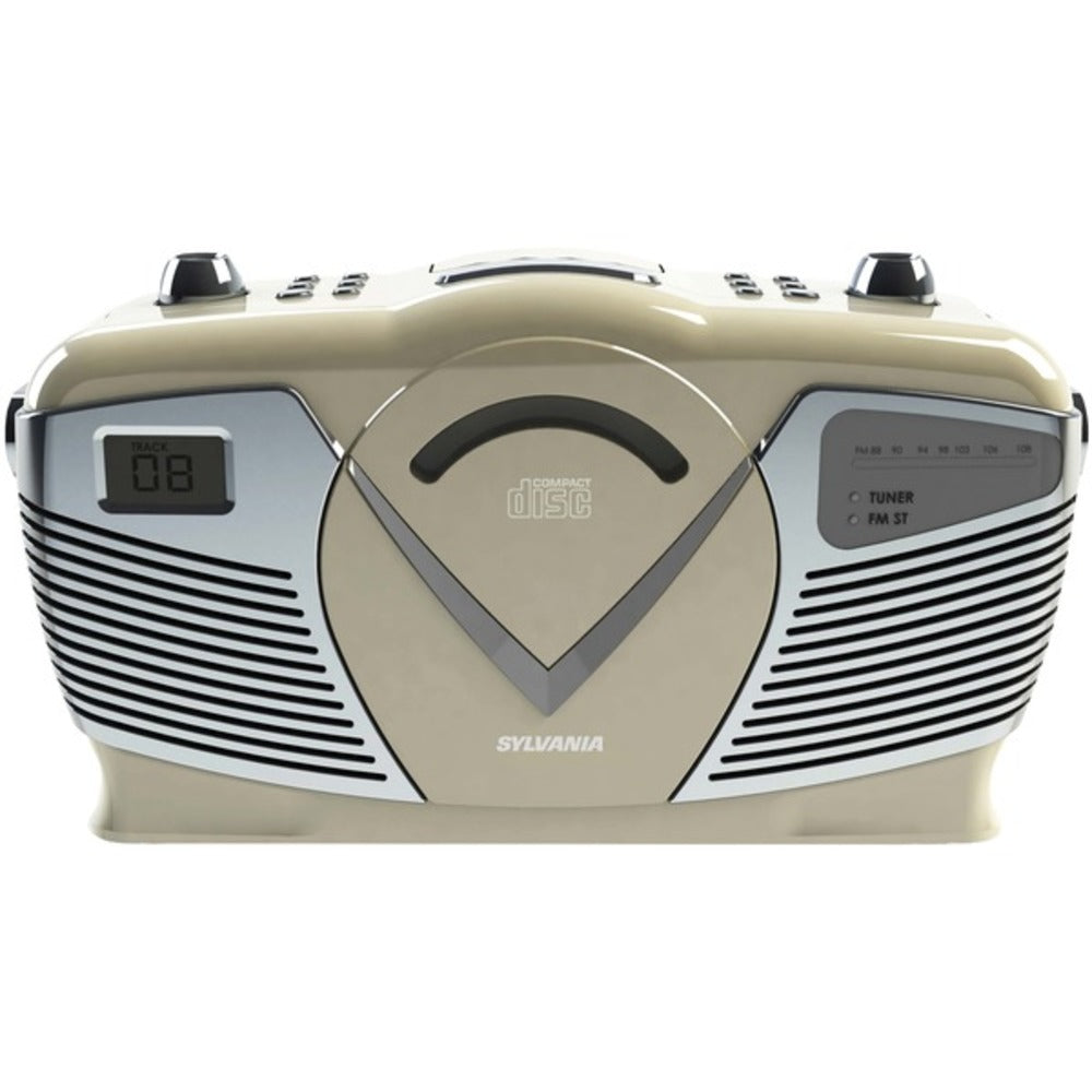 SYLVANIA SRCD212-CREAM Retro-Style Portable CD Radio Boom Box (Creme) - GadgetSourceUSA