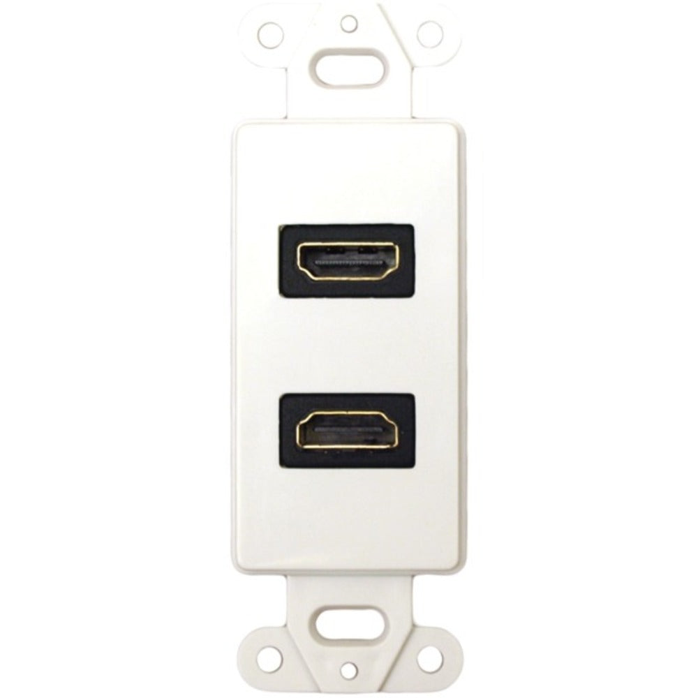 DataComm Electronics 20-4502-WH Decor Wall Plate Insert with 90deg Dual HDMI Connector - GadgetSourceUSA