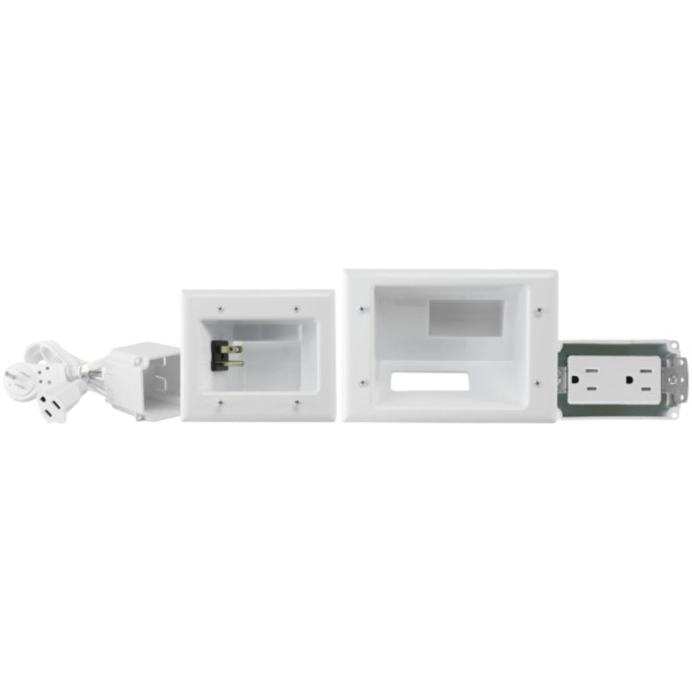 DataComm Electronics 45-0024-WH Recessed Pro-Power Kit with Duplex Receptacle and Straight Blade Inlet - GadgetSourceUSA