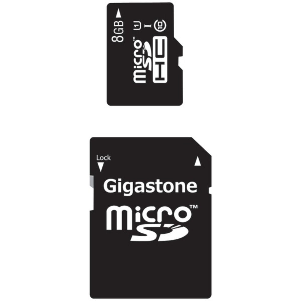 Gigastone GS-2IN1C1008G-R Class 10 UHS-1 microSDHC Card and SD Adapter (8GB) - GadgetSourceUSA