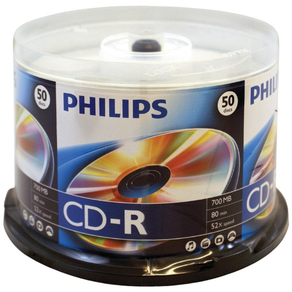 Philips D52N600 700MB 80-Minute 52x CD-Rs (50-ct Cake Box Spindle) - GadgetSourceUSA