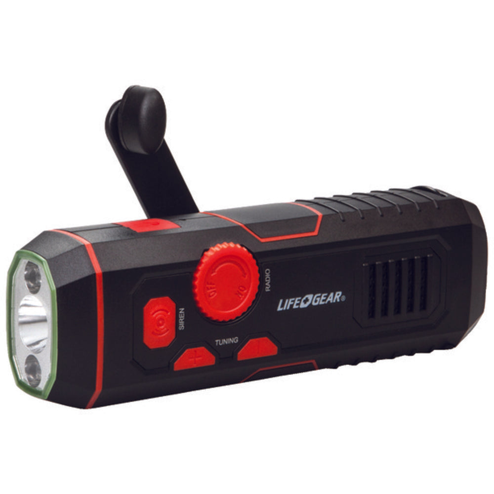 Life+Gear LG38-60675-RED 120-Lumen Stormproof USB Crank Flashlight and Radio