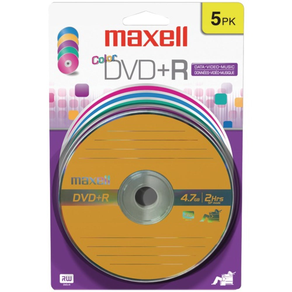 Maxell 639031 4.7GB 120-Minute DVD+Rs (5 pk, Color, Carded) - GadgetSourceUSA