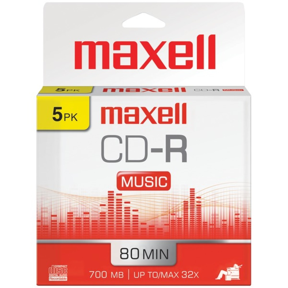 Maxell 625132 80-Minute Music CD-Rs (5 pk) - GadgetSourceUSA